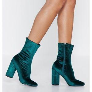 Green Velvet Block Heel Sock Boot